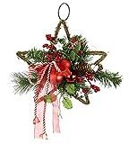 Estrella de ratán decorada con bolas de Navidad, estrellas, piñas reales, abeto y bayas, lazo para colgar, bola de Navidad, decoración para el árbol de Navidad, decoración de la puerta