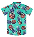Youth Boys Hawaiian Style Shirts Cute 3D Printed Green Pineapple Wear Glasses Aloha Luau Clothes for Kids 7/8 Yrs Cool Tropical Dress Casual Button Down Short Sleeve Apparel for Birthday Party