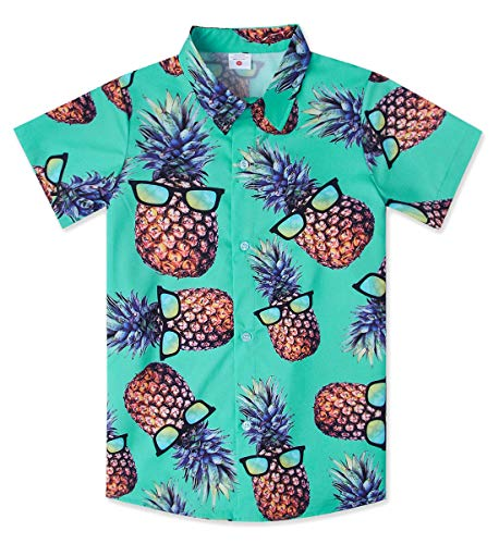 Pineapple Dress Shirts for 13-14 Years Old Juniors Boy 3D Printed Cool Green Orange Ananas Short Sleeves Button Down Hawaii Luau Top Blouse Young Teen Boys Bro Beach School Casual Party Athletic Shirt