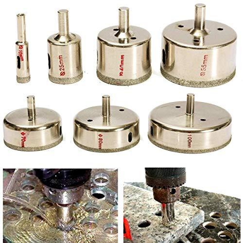 GUOCAO Juego de 7 brocas para sierra de diamante de 10 a 100 mm, para azulejos, cerámica, vidrio, porcelana, mármol, herramienta