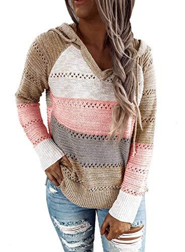 Lalala Damen Knit Hoodie Sweatshirts V Ausschnitt Strickpullover Casual Patchwork Kapuzenpullover (Khaki M)