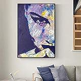Lienzo figura abstracta cara pintura de pared chica de moda impresión de lienzo arte para sala de estar quadro pinturas decorativas 40x50 cm sin marco