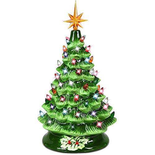 Goplus Pre-Lit Hand-Painted Ceramic Christmas Tree, Tabletop Xmas Decor, with 66 Multicolored Lights and Top Star, Forever Lighted Holiday Centerpiece (15in, Green)