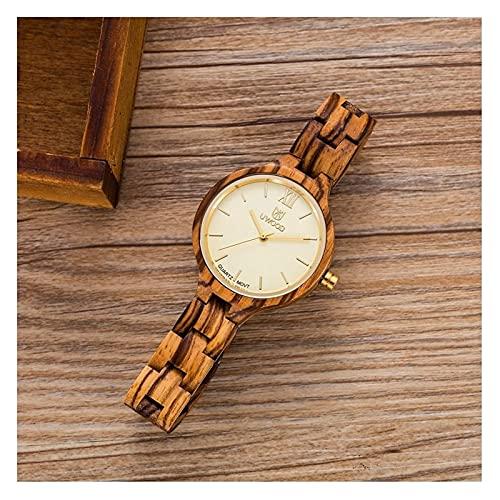 yuyan Reloj de Madera de Las señoras - Reloj de Cuarzo Decorativo de la Moda de la Madera de la Madera, la luz, cómoda, Transpirable, Saludable y respetuosa con el Medio Ambiente
