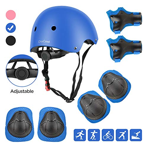 Amazing Deal DaCool Kids Helmet Pad Set Elbow Knee Wrist Pads for Sports Protective Gear Set Adjusta...