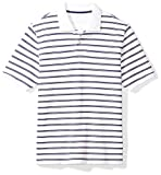 Photo de Amazon Essentials Regular-fit Striped Cotton Pique Polo Shirt, White/Navy Stripe, S par