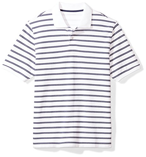 Amazon Essentials Regular-Fit Cotton Pique Polo Shirt Polohemd, White/Navy Stripe, XS