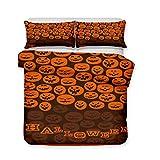 Juego de cama de microfibra con estampado de Halloween, transpirable, cómodo, suave, funda de edredón y almohada, con cremallera, Easy Care, 7, 135*200