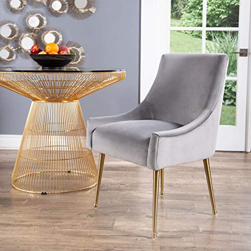 Abbyson Living Velvet Upholstered Dining Chair with Gold Finished Handle, Grey