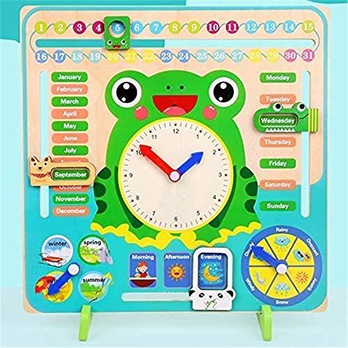 Paelf Tiempo Vertical Reloj Calendario cognición niños de 3-6 años de Edad Tiempo de Cuatro Estaciones Material didáctico Juguetes educativos jardín de Infancia,30 * 30 * 0.8cm