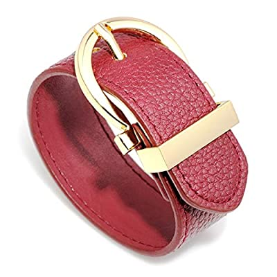 Wide Cuff Leather Round Belt Buckle Wrap Bracelet Unisex 25cm 10 inch Length (Red)