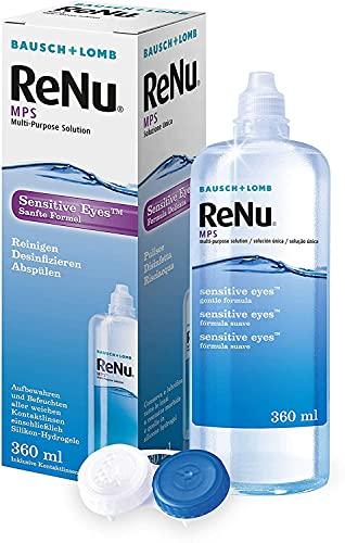 Bausch & Lomb ReNu MPS Sensitive Eyes Kombilösung Kontaktlinsenreiniger und Aufbewahrungslösung weiche Einzelflasche 360 ml, Transparent, 1 stück