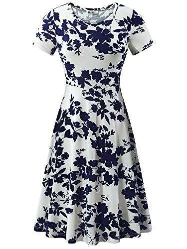 HUHOT Elegant Dresses, Women Summer Casual Vacation Dinner Evening Dress(Floral-5,Medium)