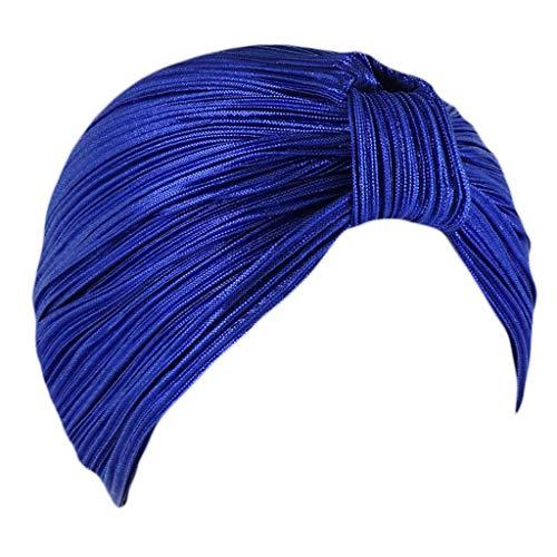 mingsheng Muslim Headscarf - Gorro para mujer con nudo, holograma brillante, color sólido, India, musulmán y quimio, elástico, para pérdida de cabello