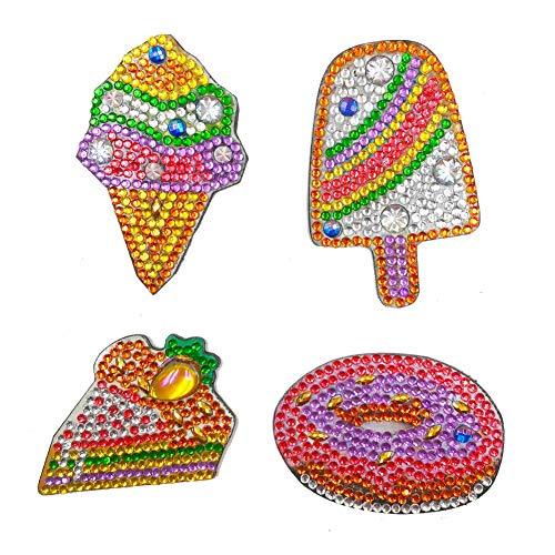 KANUBI Pintura de diamante 5D, 4 piezas DIY taladro completo forma especial helado diamante pintura imán nevera