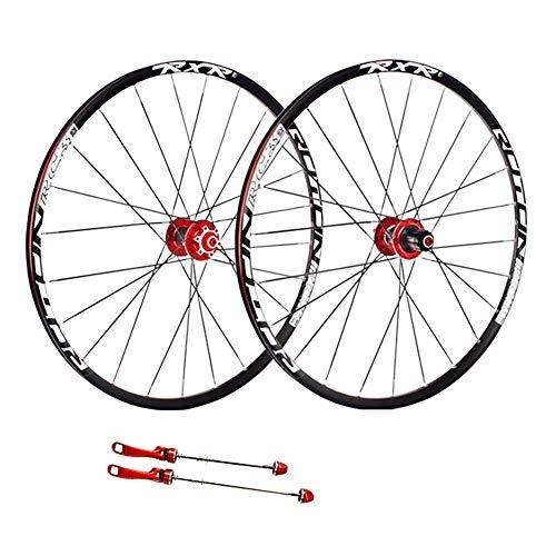 ZCXBHD 26 Pulgadas Bicicleta Montaña Juego De Ruedas Fibra Carbon Cubo Freno De Disco MTB Rueda Pared Doble 5 Palin 7 8 9 10 11 Velocidad Casete (Color : Red hub, Size : Quick Release)