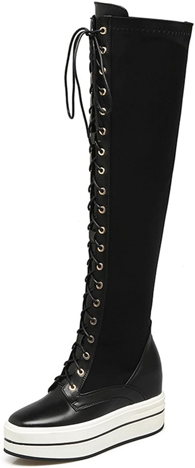 Nine Seven Cow Leather Women's Round Toe Wedge Heel Lace Up Handmade Over The Knee Boots
