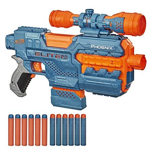 Nerf- Pistola motorizada Elite 2.0 Phoenix CS-6, 12 Oficiales, Clip de 6 Dardos, Alcance, carriles tácticos, Barril y Puntos de fijación (Hasbro 0)