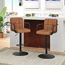 Breakfast Swivel Bar Stools, Square Swivel Adjustable Height Bar Stools with Backs and Arms,Set of 2,Modern Bar Chairs Tech Fabric Yellow Brown