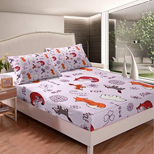 Juego de sábanas para niños con diseño de zorro de tigre de dibujos animados para niños y niñas, juego de cama con 2 fundas de almohada, 3 piezas de cama King