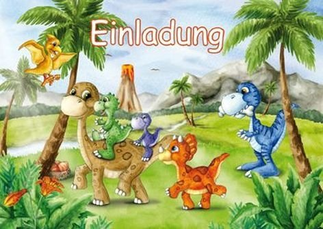12-teiliges Einladungen-Set * Dinosaurier * mit 6 Einladungskarten und 6 Umschläge für Kindergeburtstag // Kinder Geburtstag Party Einladung Karten Dino T-Rex Dinos Saurier