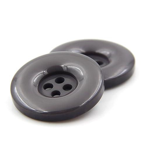 Lot de 10 boutons à coudre ronds en résine - À 4 trous - Pour création de vêtements, d'albums et autres loisirs créatifs, gris, 15 mm
