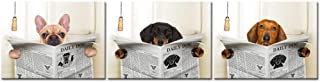 iKNOW FOTO 3 Piece Funny Animals Canvas Wall Art Dogs Read Newspapers Poster Prints Giclee Artwork Stretched and Framed Ready to Hang for Bathroom Walls Decor 12x16inchx3pcs