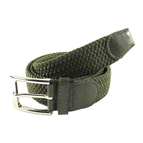 MYB Hochwertiger Flechtgürtel für Damen und Herren – Geflochtene Gürtel – in verschiedenen Farben und Größen (105 - 110 cm, Militär-Grün)