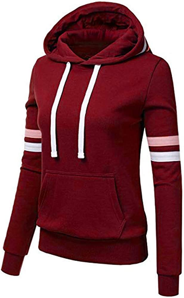Workout Popular product Tops for Women Drawstring Stripe Long Sleeve Shir Hoodie New arrival