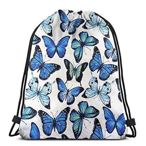 Joaffba Mochila con cordón de Gran Capacidad Blue Butterfly Mochila Deportiva fácil de Llevar