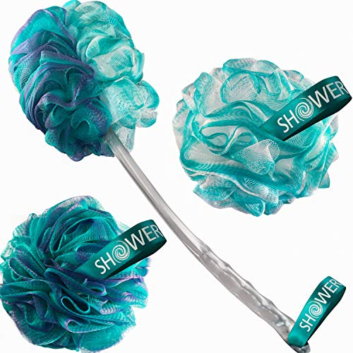 2SideLoofahBackScrubber amp BathSponges byShowerBouquet: 1LongHandleBackBrush plus 2ExtraLarge 75g Soft Mesh Poufs Men amp Women  Exfoliate with Full Pure Cleanse in Bathing Accessories