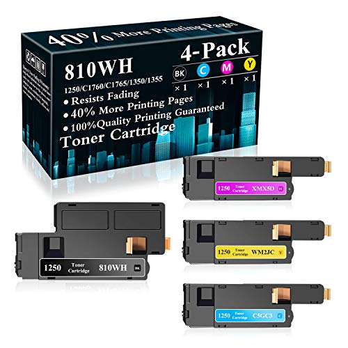 4-Pack (BK/C/M/Y) 810WH C5GC3 WM2JC XMX5D Toner Cartridge Replacement for Dell 1250c C1760nw C1765nfw C1765nf 1350cnw 1355cn 1355cnw Printer,Sold by TopInk