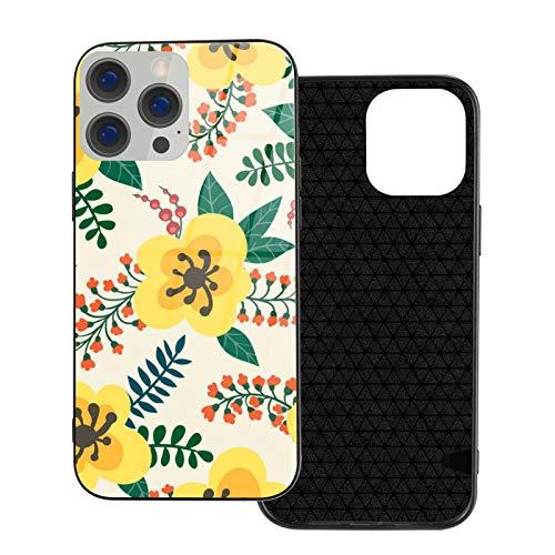 Compatible con iPhone 12 Pro Max, carcasa resistente de cuerpo completo, funda suave de cristal TPU para iPhone 12 Pro Max 6.7 pulgadas, patrón floral flores amarillas ramas