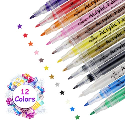 Vivibel 12 Farben Marker Stifte, Acrylfarben Stifte, Permanent Wasserfeste Stifte, Acrylstifte für Steine/Design Schule Manga Kunstler/DIY Fotoalben/Hochzeit/Papier (0.7mm)