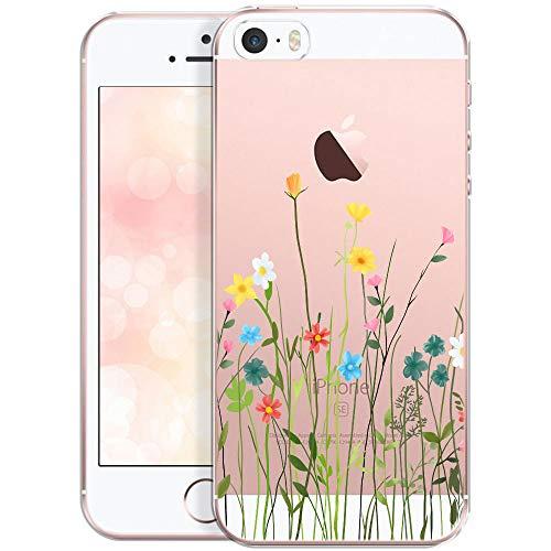 QULT Handyhülle kompatibel mit iPhone 5 iPhone SE iPhone 5s Hülle transparent mit Motiv dünn Schutzhülle durchsichtig Case Blumenwiese
