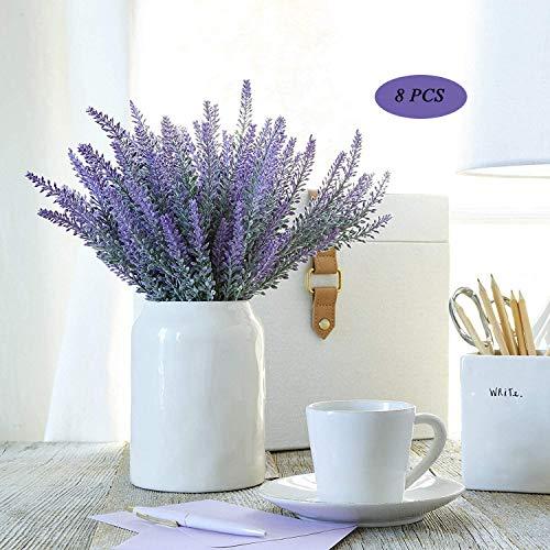 Pauwer 8pcs Flor de Lavanda Artificial Ramo de Lavanda púrpura de Seda Falsa para el hogar Bricolaje jardín Oficina decoración de la Boda (púrpura)