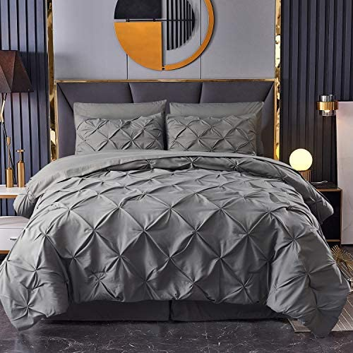 HAOK Bed in a Bag Set 8 Pieces Pinch Pleat Bedding Comforter Sets Pintuck Microfiber Down Alternative product image