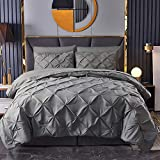 HAOK Bed in a Bag Set - 8 Pieces Pinch Pleat Bedding Comforter Sets, Pintuck Microfiber Down Alternative King Comforter Set (Dark Grey, King)