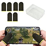 Yandls Gaming Gloves, Seamless Finger Sleeves for Gaming, PUBG Mobile Game Controllers Thumb Finger Sleeves, Anti-Sweat Breathable Gaming Thumb for League of Legends, Rules of Survival - Black 6Pcs