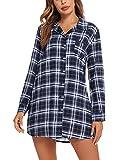 Doaraha Camisón para Mujer Algodón Vestido Camisón de Cuadros con Bolsillo Delantero y Botones Pijama Ropa de Dormir Mangas Largas Camisón para Mujer Suave