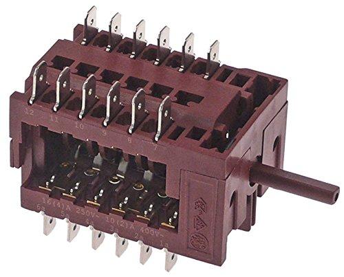 Fagor - Interruptor de levas para lavavajillas FI-100B, ECO-120B, FI-120B, FI-120HY, Eje Ø 6x4,6x23 mm, conector plano 6,3 mm 12NO