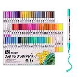 Rotuladores para colorear, 72 colores, punta de pincel de acuarela y punta fina para libros de colorear para adultos, dibujo, pintura, caligrafía