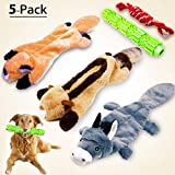MigooPet Durable Plush Dog Squeaky Toys Dog Treat Toys Teething Toys Tough Rope Dog Chew Toys Funny Interactive Small Large Dog Toys for All Sized Dogs (5 Pack)