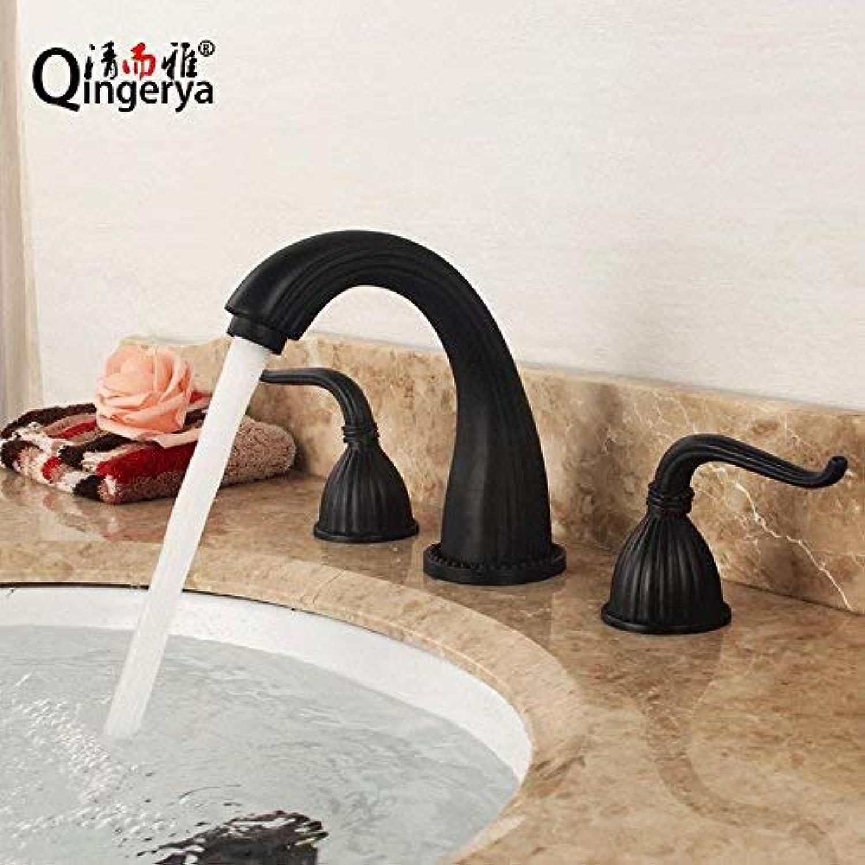 ZHAS Waschbecken Leitungswasser Mischbatterie American schwarz Kupfer Bad heien und kalten DREI-Loch-Badewanne Wasserhahn