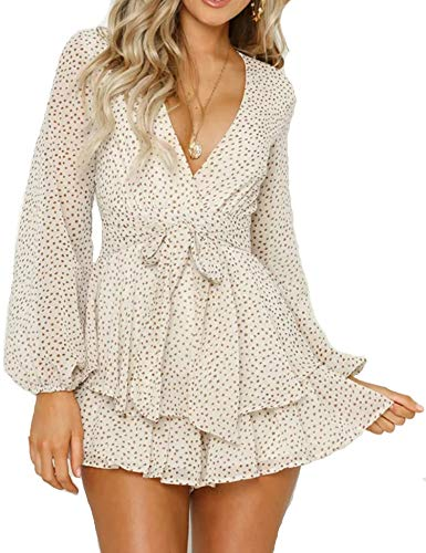 Relipop Women's Polka Dot Jumpsuits Deep V-Neck Long Sleeve Knot Front Ruffle Hem Rompers (Large, White)