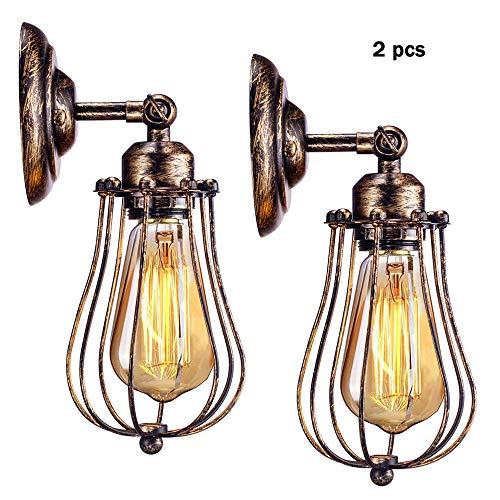Vintage Wandleucht, 2PCS Antik Wandlampe Industrial Retro Metall Wandleuchte E27 Verstellbare für Landhaus Schlafzimmer Wohnzimmer Esstisch (Ohne Leuchtmittel)