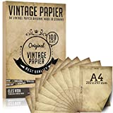 100 pezzi di carta per lettere vintage A4 100 g/qm con 5 fogli di carta kraft - vecchia carta artigianale per certificati carte del tesoro carte artigianali, matrimonio,carta a motivi scrapbooking