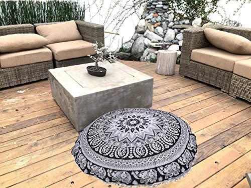 Funda de cojín redonda de algodón con diseño de elefante indio, con mandala, para reposapiés, color blanco y negro