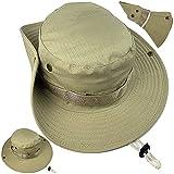 ZffXH Ejército Militar Boonie Sombrero para Hombres Mujeres Cowboy Caza Pesca Cap Sol Upf Protección Plegable, caqui