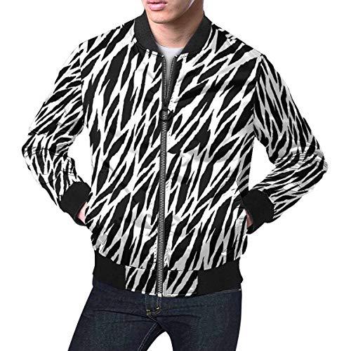 INTERESTPRINT Abstract Animal Print Zebra, Tiger Stripes, Lines Men's Bomber Jacket L